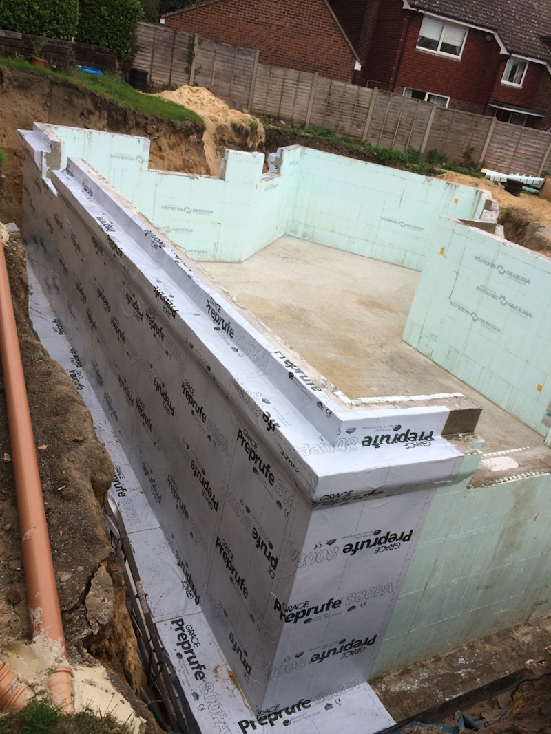 Addington Kent ICF basement walls to provide support for the timber frame superstructure
